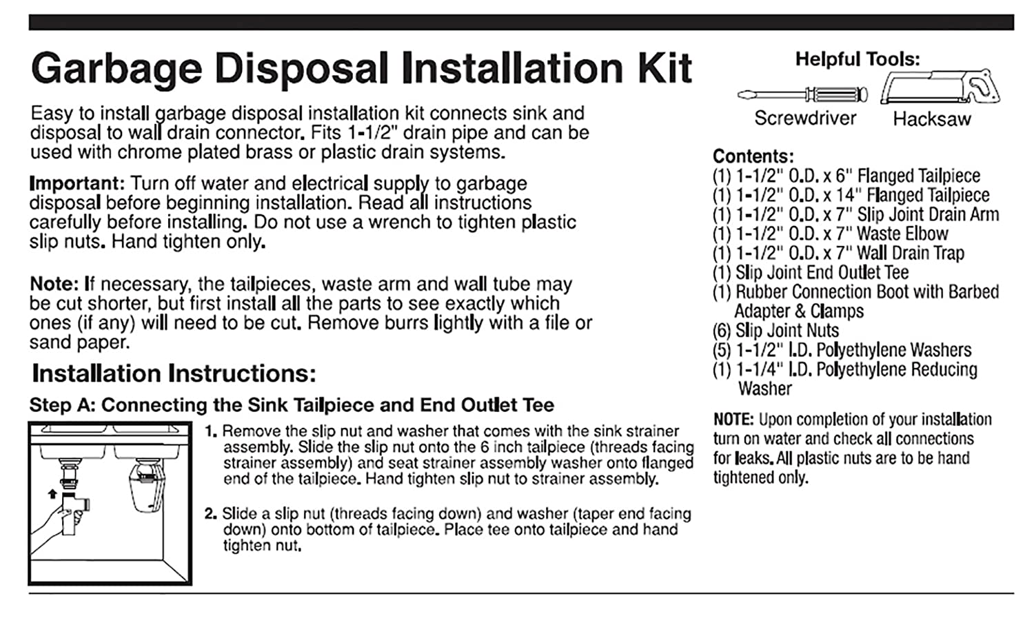 Plumbcraft 7027450 Garbage Disposal Installation Kit Double Sink Plumbing Diagram Dishwasher And