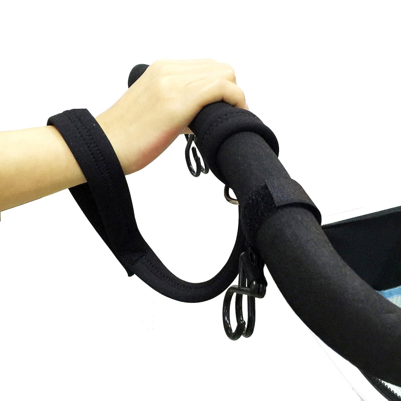 ABOSS Baby Stroller Pram 1 Piece Black Safety Belt Wrist Strap with 2 Pieces Stroller Hook