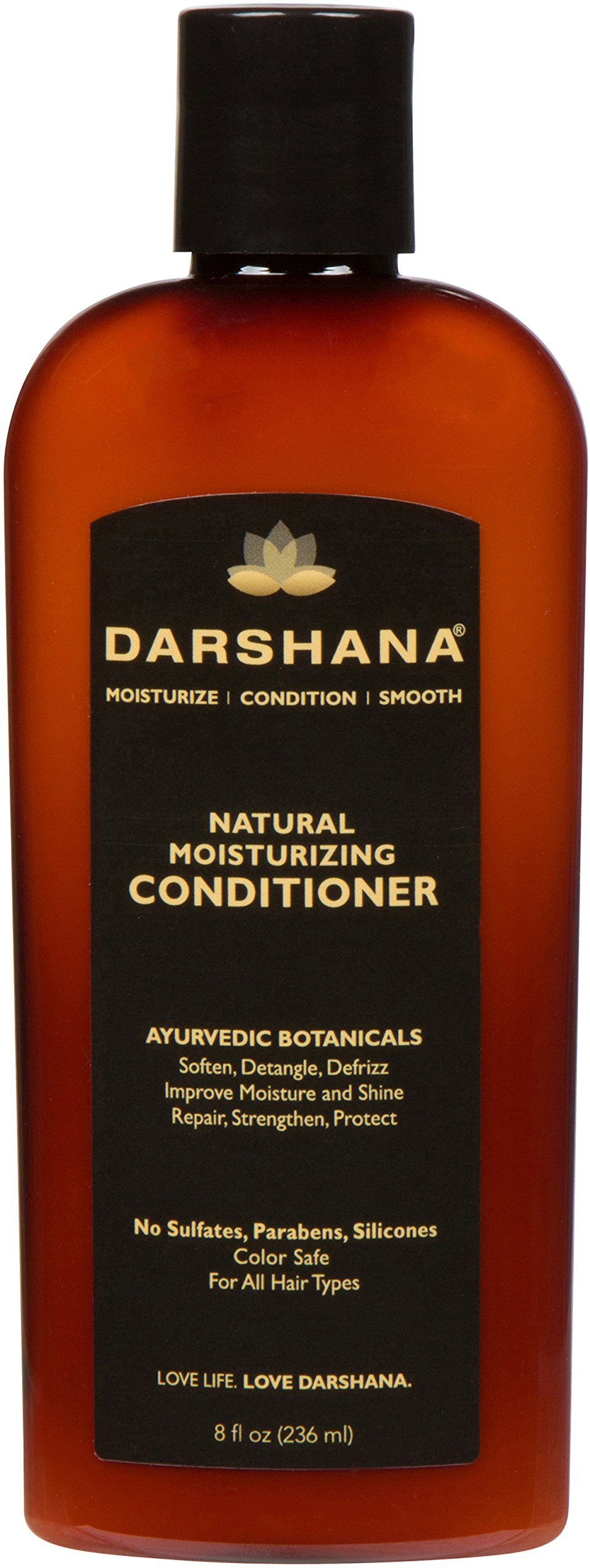 Darshana Natural Moisturizing Conditioner with Ayurvedic Botanicals - Color Safe, No Sulfates, Silicones, Parabens - Soften, Detangle, Defrizz, pH Balanced (8 fl oz.)