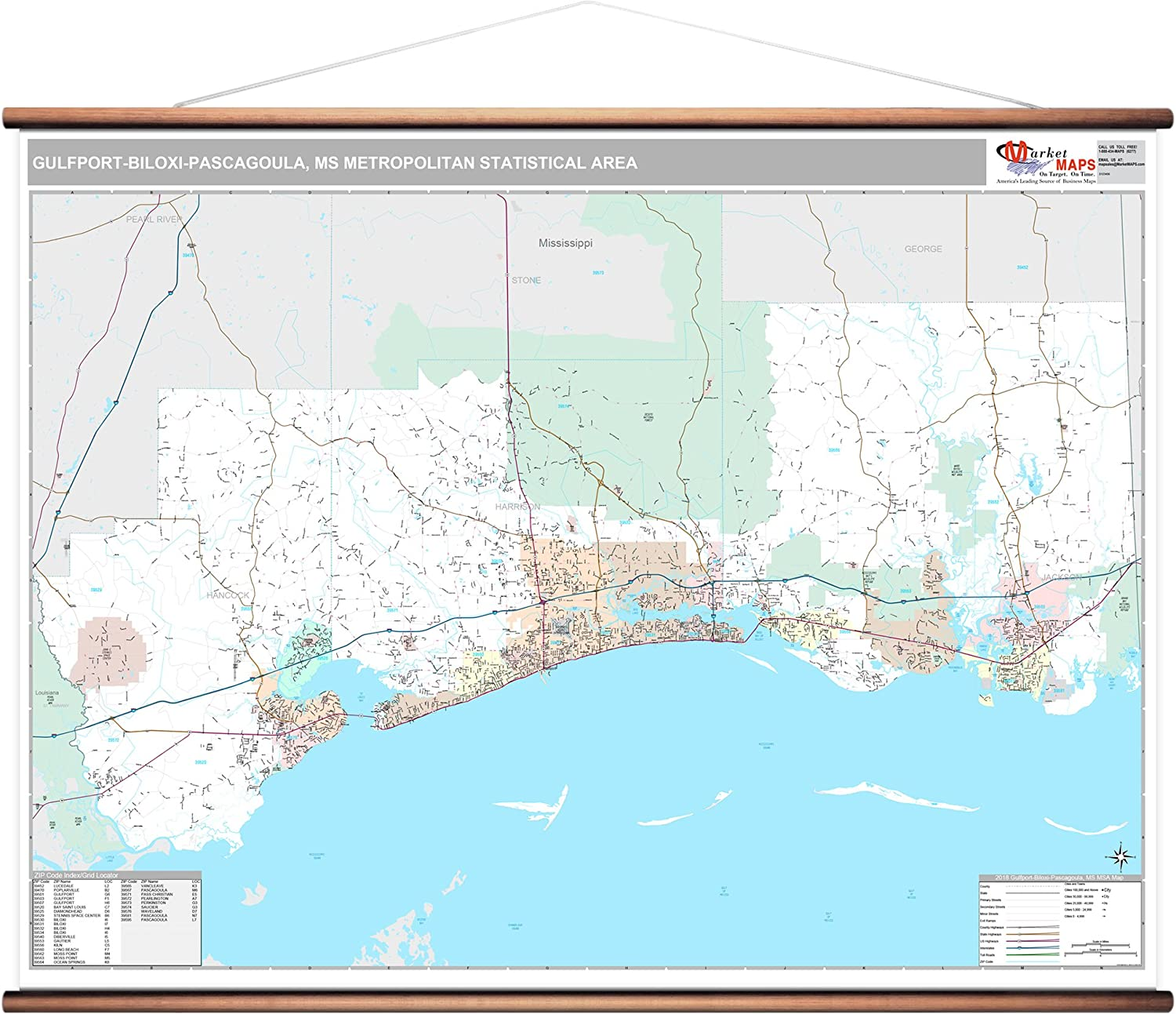 Amazon Com Gulfport Biloxi Pascagoula Ms Metro Area Wall Map