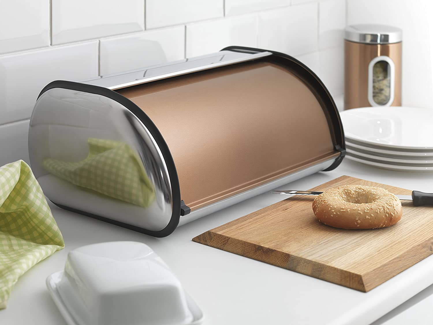 Addis Deluxe Roll Top Copper Bread Bin
