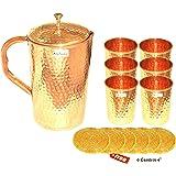 Copper Jug with 6 Tumbler Glass Set for Ayurvedic Healing