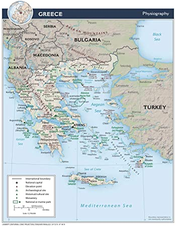 Amazon.com: Map Poster - Greece Physical Map 11\