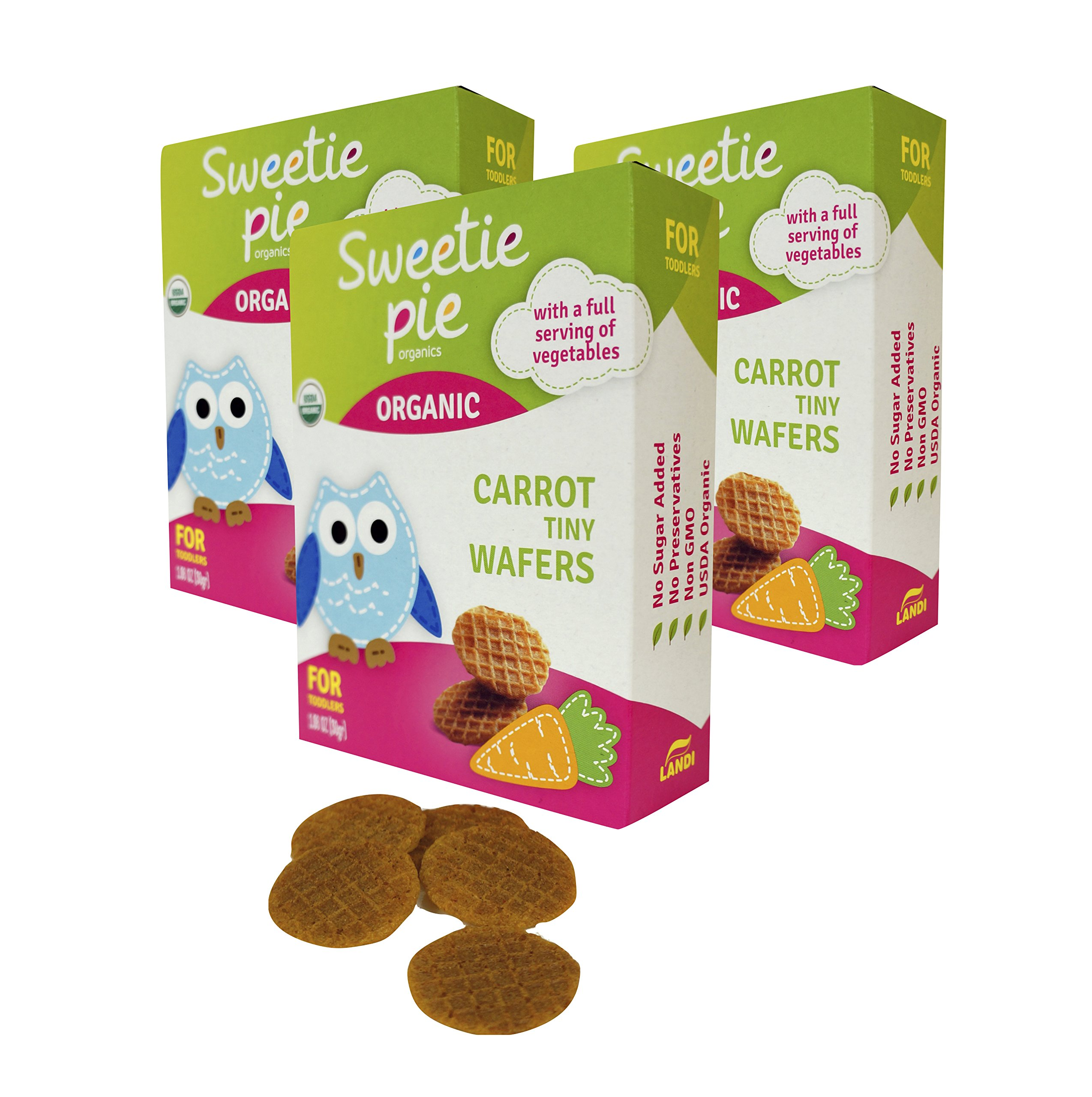 Sweetie Pie Organics 3 Piece Tiny Wafers Carrot Organic Baby Healthy Snack Teething Biscuit Rusks, 3 Ounce by Sweetie Pie Organics