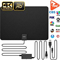 Updated 2019 Version Carbon Fibre 120+ Miles TV Antenna, Indoor TV Digital HD Antenna 4K HD Freeview Life Local Channels All Type Television Switch Amplifier Signal Booster