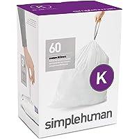 simplehuman Code K Custom Fit Liners, 35-45 L / 9-12 Gallon, 60ct