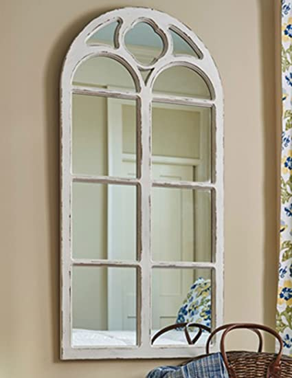 Shabby chic distressed white wood window mirror with arched top 47 25