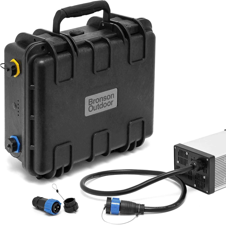 Bronson Outdoor Batería de iones de litio MB 14,4 V NMC impermeable para motores de barco de 12 V (batería de 100 Ah con cargador de 40 A)