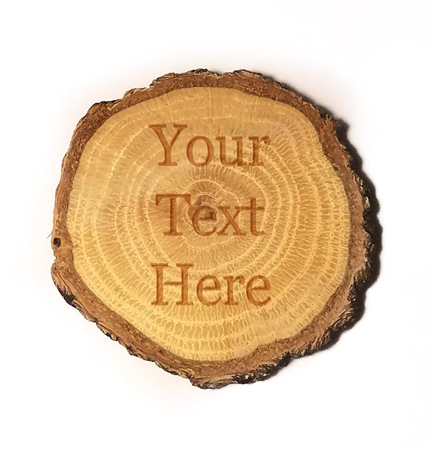 Customized 3D Laser Engraved Personalized Wooden Rustic Log Custom Magnet with Your Text