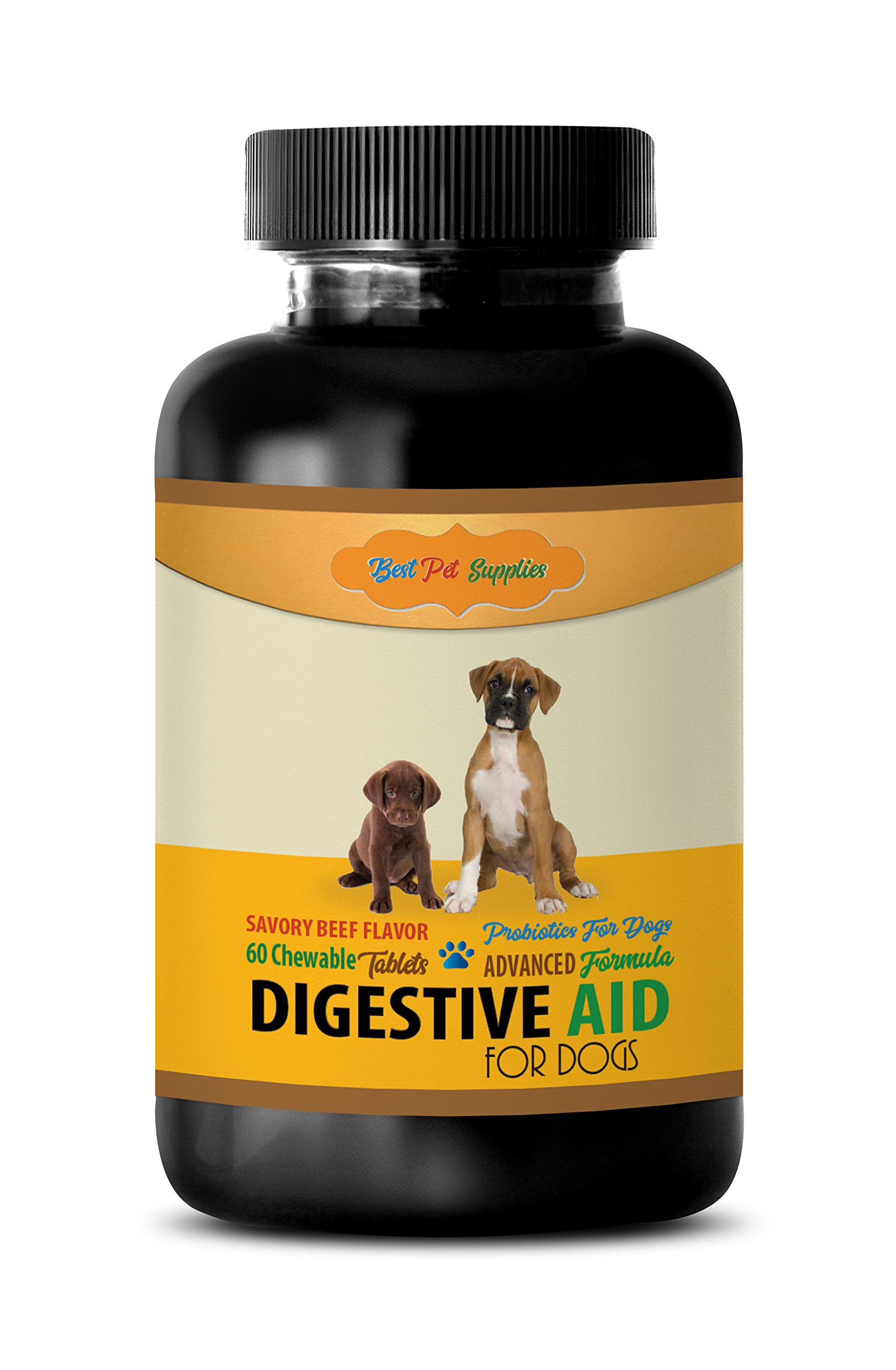 BEST PET SUPPLIES LLC pet digestive enzymes for dog - DIGESTIVE AID - FOR DOGS ONLY - PROBIOTICS - BEEF FLAVOR - CHEWABLE - bifidobacterium bifidum - 60 Chews (1 Bottle)