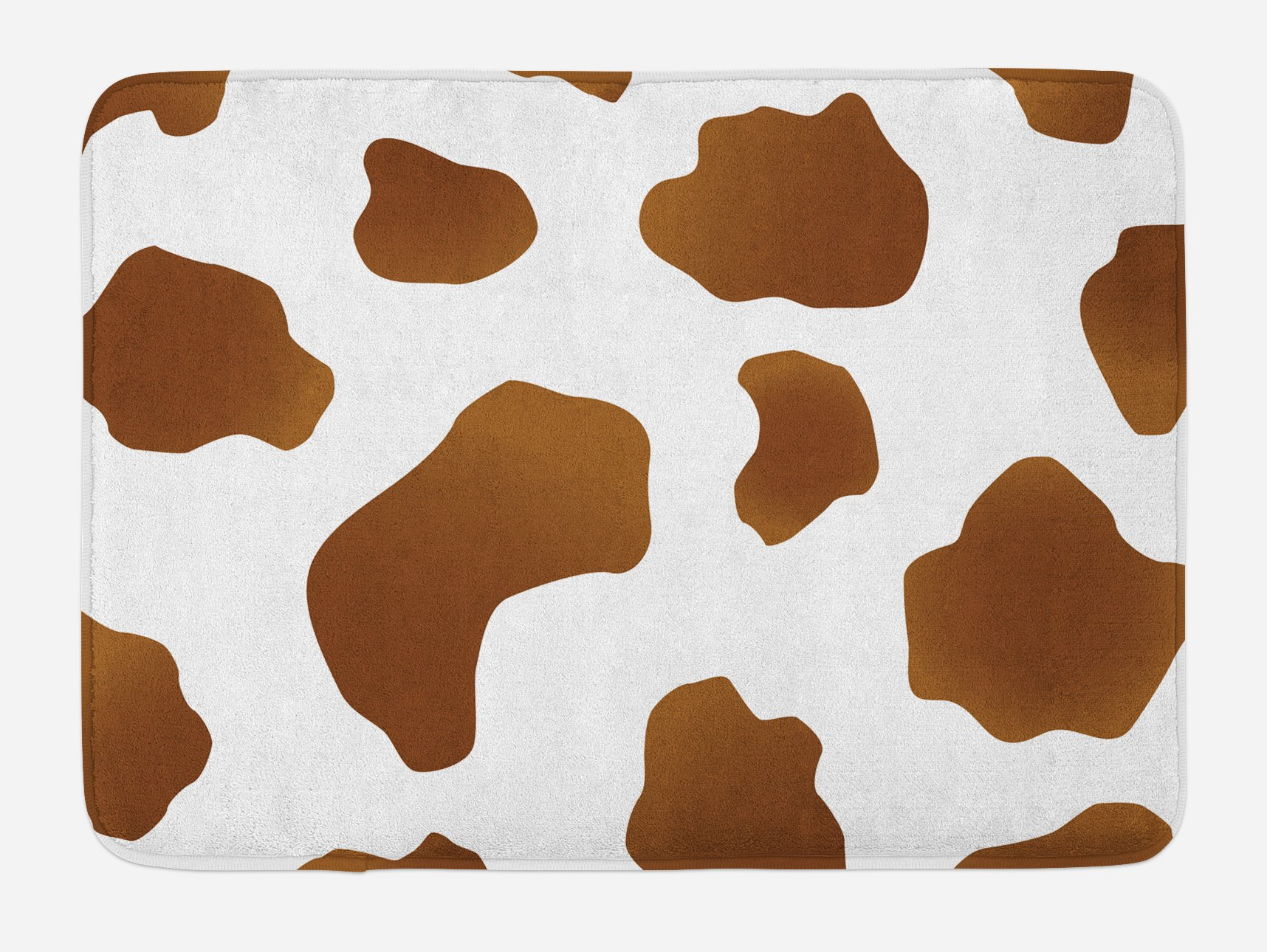 Ambesonne Cow Print Bath Mat, Brown Spots on a White Cow Skin Abstract Art Cattle Fur Farm Animals Cowboy Barn, Plush Bathroom Decor Mat with Non Slip Backing, 29.5 W X 17.5 W Inches, White Brown