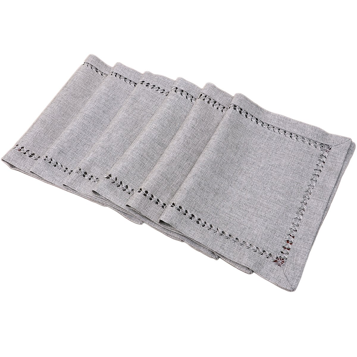 GRELUCGO Set Of 6 Decorative Handmade Hemstitch Gray Dining Table Placemats, Rectangular 12 By 18 Inch