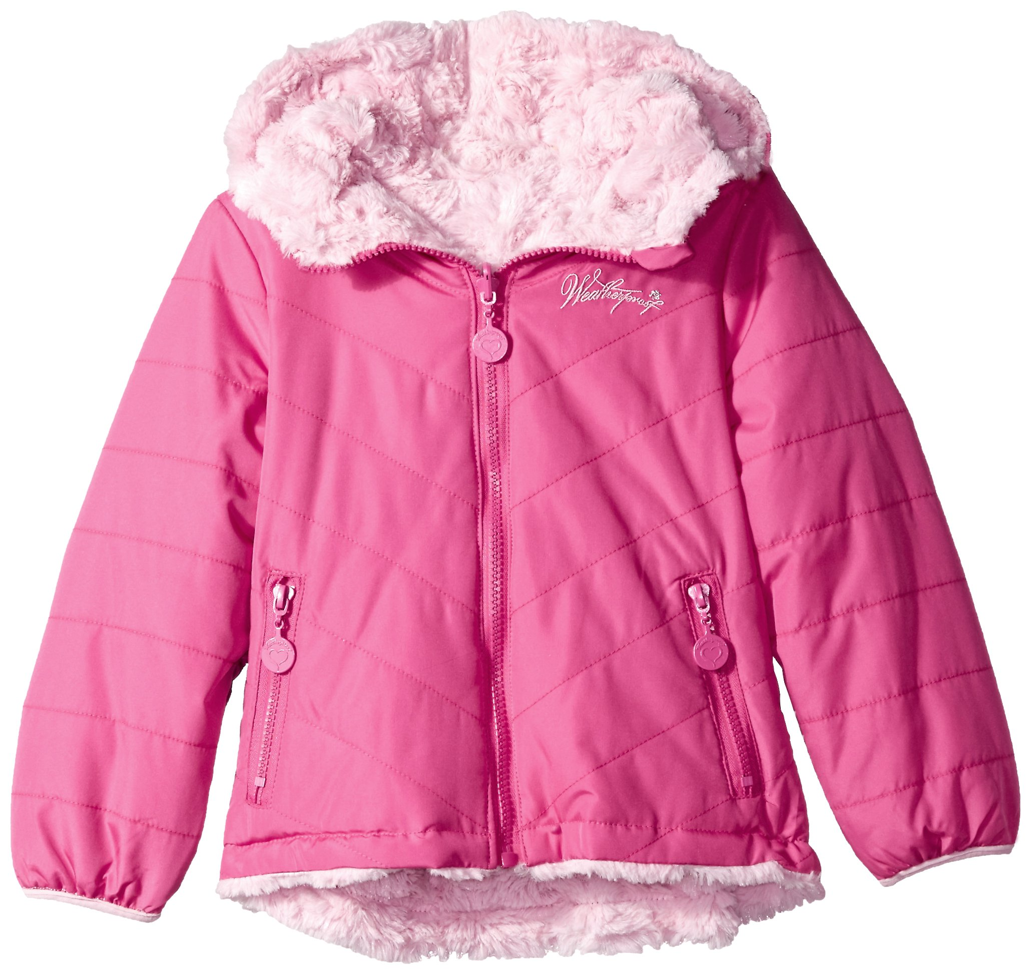 Weatherproof Toddler Girls' Outerwear Jacket (More Styles Available), Reversible-WG202-Fuchsia/Light Pink, 2T