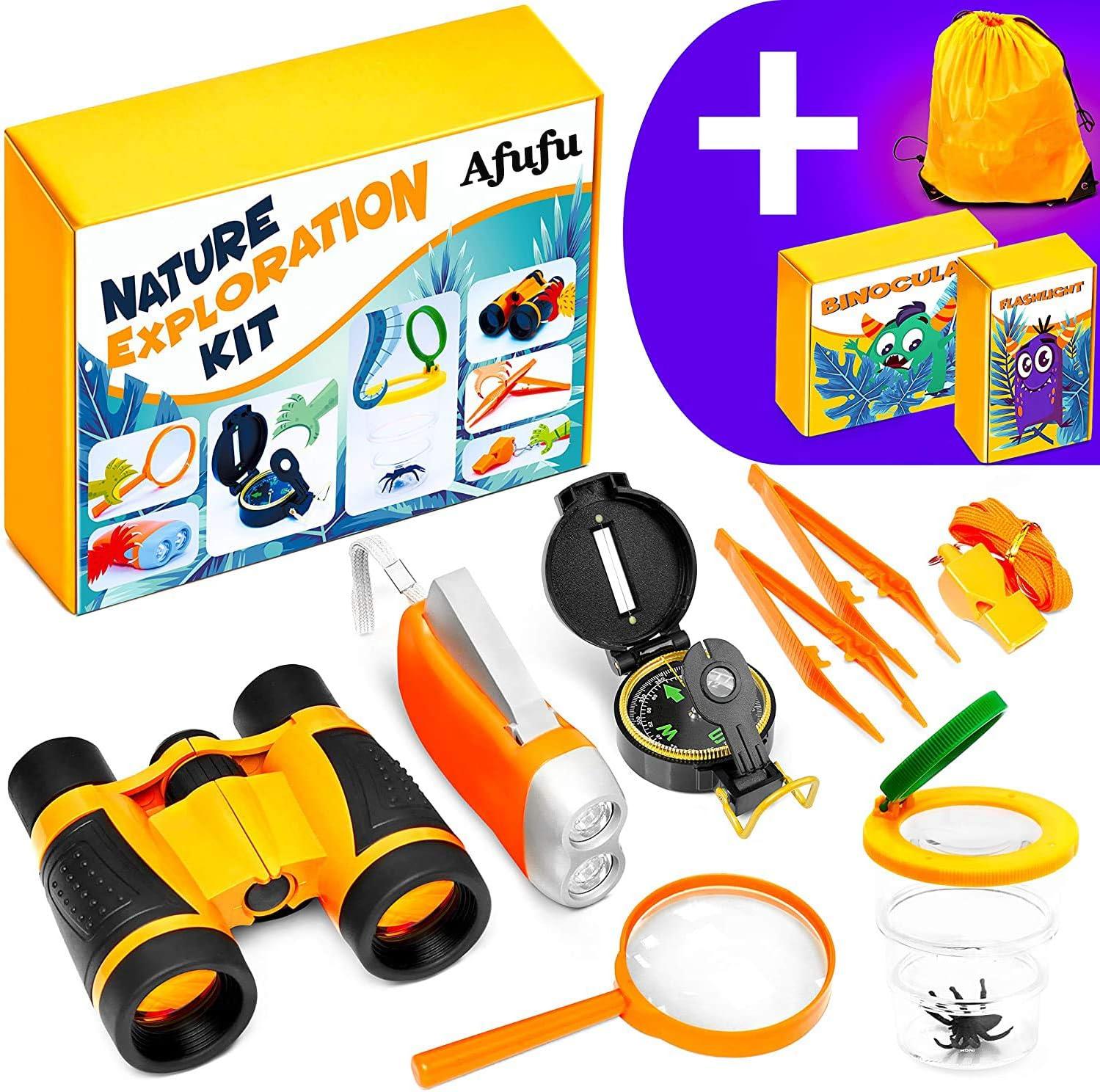 Afufu Juguetes de exploración, 10 Piezas Kit de Binoculares para Niños, Juguetes niños 4 5 6 7 8 9 años Educativos Regalo de Cumpleaños para Niños con Mochila Brújula Binoculars: Amazon.es: Juguetes y juegos