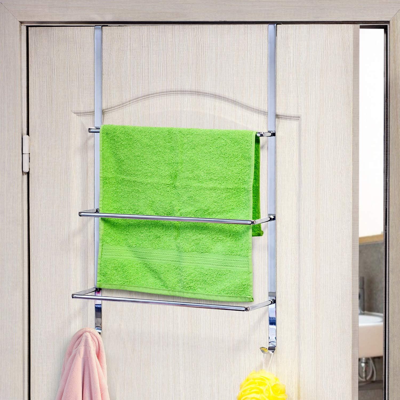 3-Tier Nickel Plated Satin Finish Over the Door Triple Towel Rail Rack w// Hooks