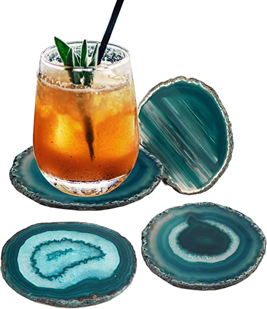 "Amazon.com | AMOYSTONE Teal Agate Coaster 3.5-4"" Dyed Sliced ..."
