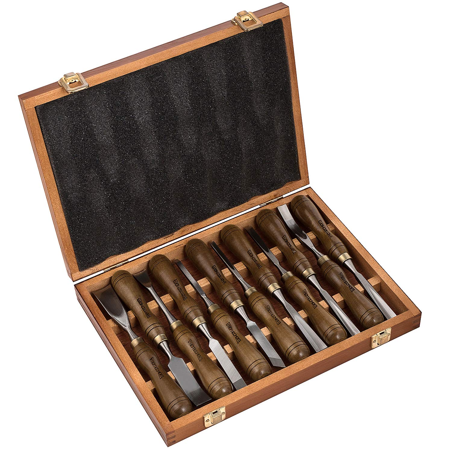 IMOTECHOM 12-Pieces Woodworking Wood Carving Tools Chisel Set with Walnut Handle, Wooden Storage Case by IMOTECHOM