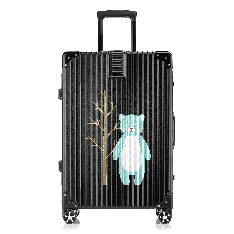 GSHCJ スーツケース 動物のキャラクター クマ キャリーケース 20インチ おしゃれ ブラック Tsaロック搭載 プリント ハード 超軽量 軽い 機内持込 ロックファスナー 旅行 ビジネス 出張 海外 修学旅行 丈夫 便利 レディース メンズ 学生 B07RX7M6RF
