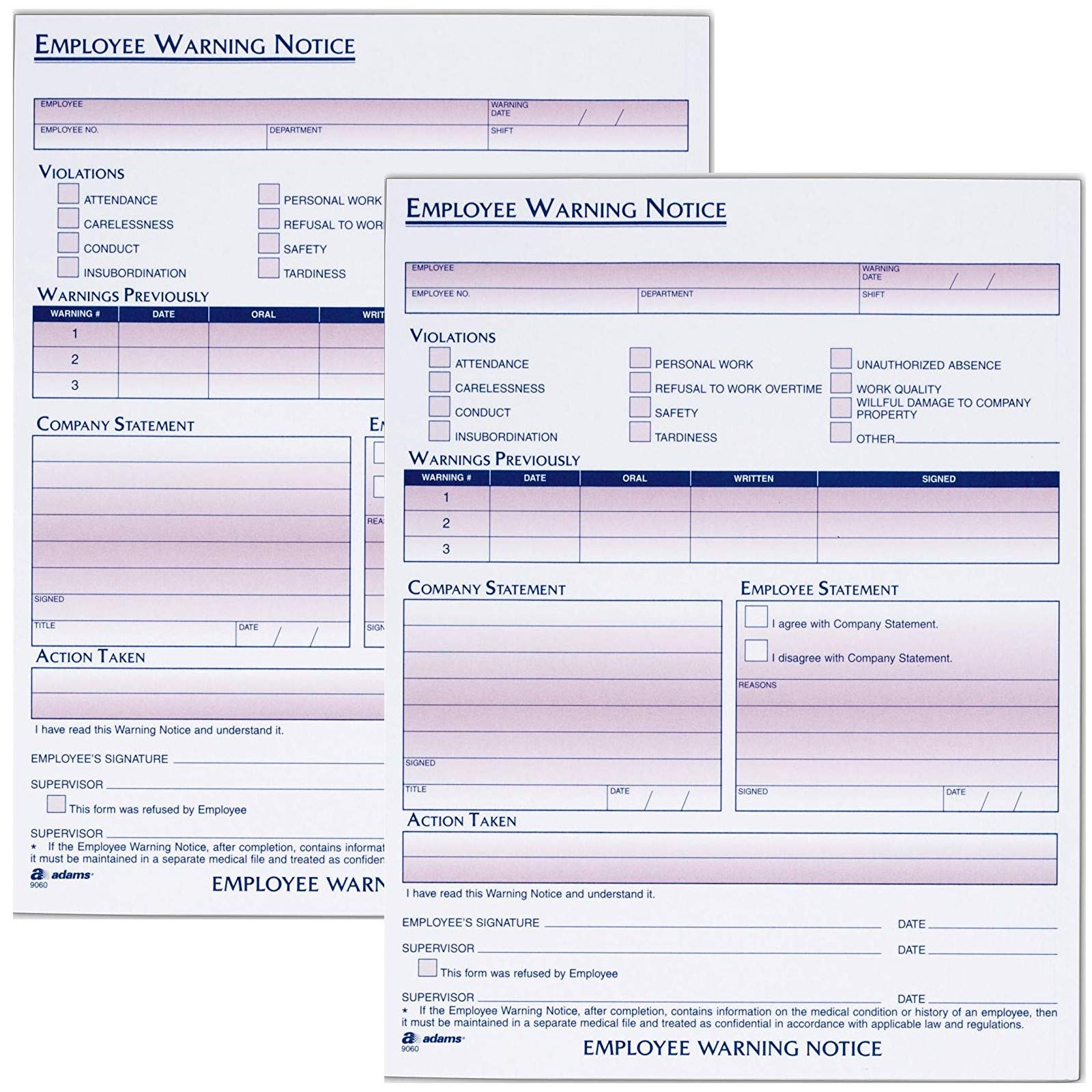 Adams Employee Warning Notice Form, 8.5 x 11 Inches, 4 Pads of 50 Forms, 200 Total forms, 1-Part Each (9060)