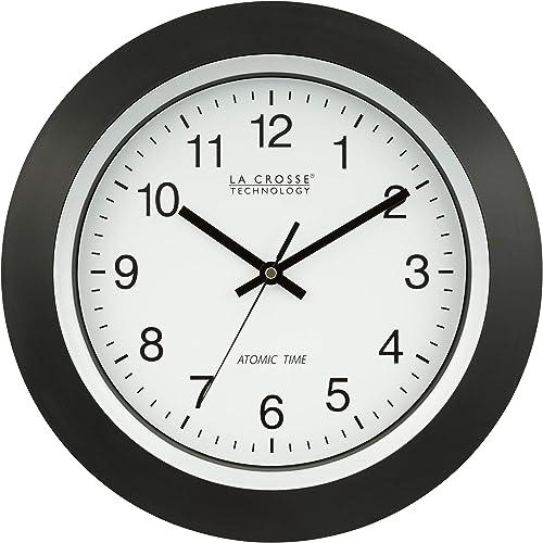 La Crosse Technology 404-1236 13.5 Inch Atomic Analog Wall Clock, Black