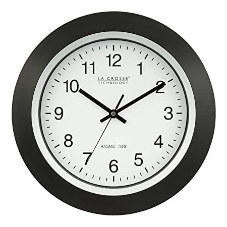 La Crosse Technology 404-1236 13.5 Inch Atomic Analog Wall Clock, Black