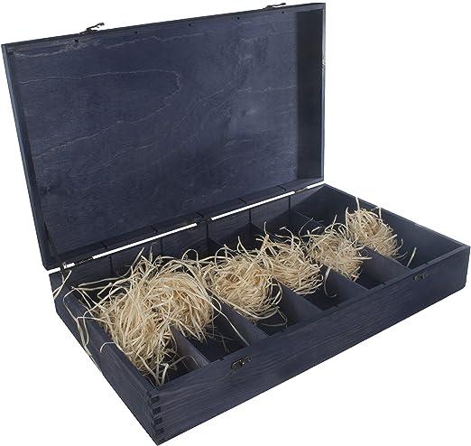 Caja de madera para 6 botellas de vino, bisagras y cierre de metal ...