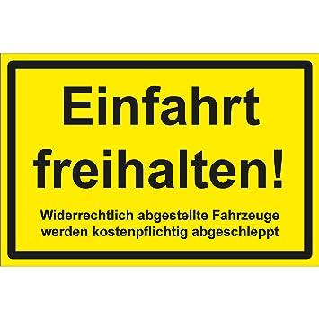Cartel con Texto en alemán Einfahrt freihalten, 30 x 20 cm ...