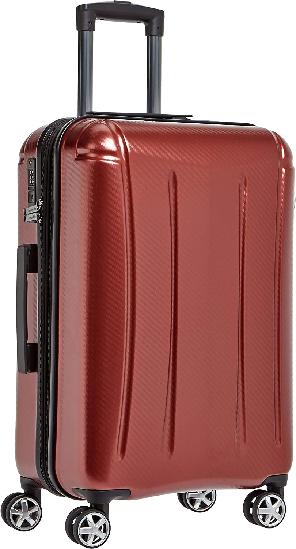 AmazonBasics - Maleta rígida «hardside» Oxford, con ruedas - 68 cm, Rojo