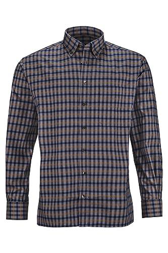 ETERNA Herren Langarm Hemd aus 100% Baumwolle Comfort Fit mit Button Down Kragen Flanellhemd Blau kariert, Größe:43