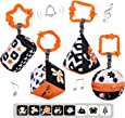 TUMAMA High Contrast Shapes Sets Baby Toys, Black and White Stroller Toy for Car Seat Baby Plush Rattles Rings Hanging Toy for 0 3 6 9 to 12 Months, Newborn,Toddlers,Infants (4 Packs)