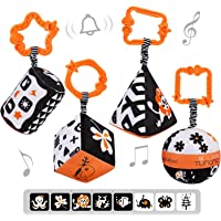 TUMAMA High Contrast Sharpes Sets Baby Toys, Black and White Stroller Toy for Car Seat Baby Plush Rattles Rings Hanging…