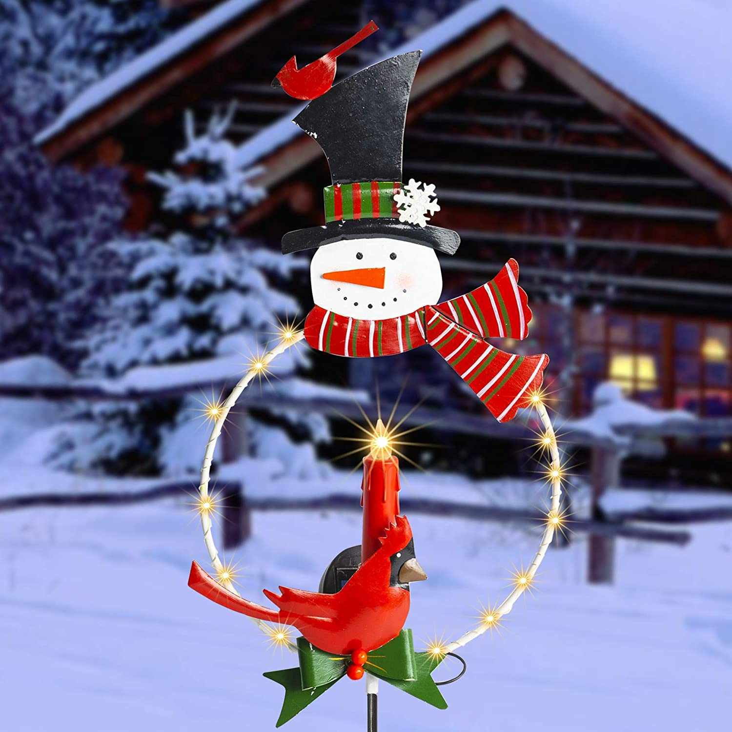 FUNPENY Solar LED Christmas Outdoor Decoration, Waterproof Snowman Signs Garden Stake Candle Pathway Lights, Metal Ornament for Patio Lawn Garden Yard Christmas Holiday Decor, 33 Inch
