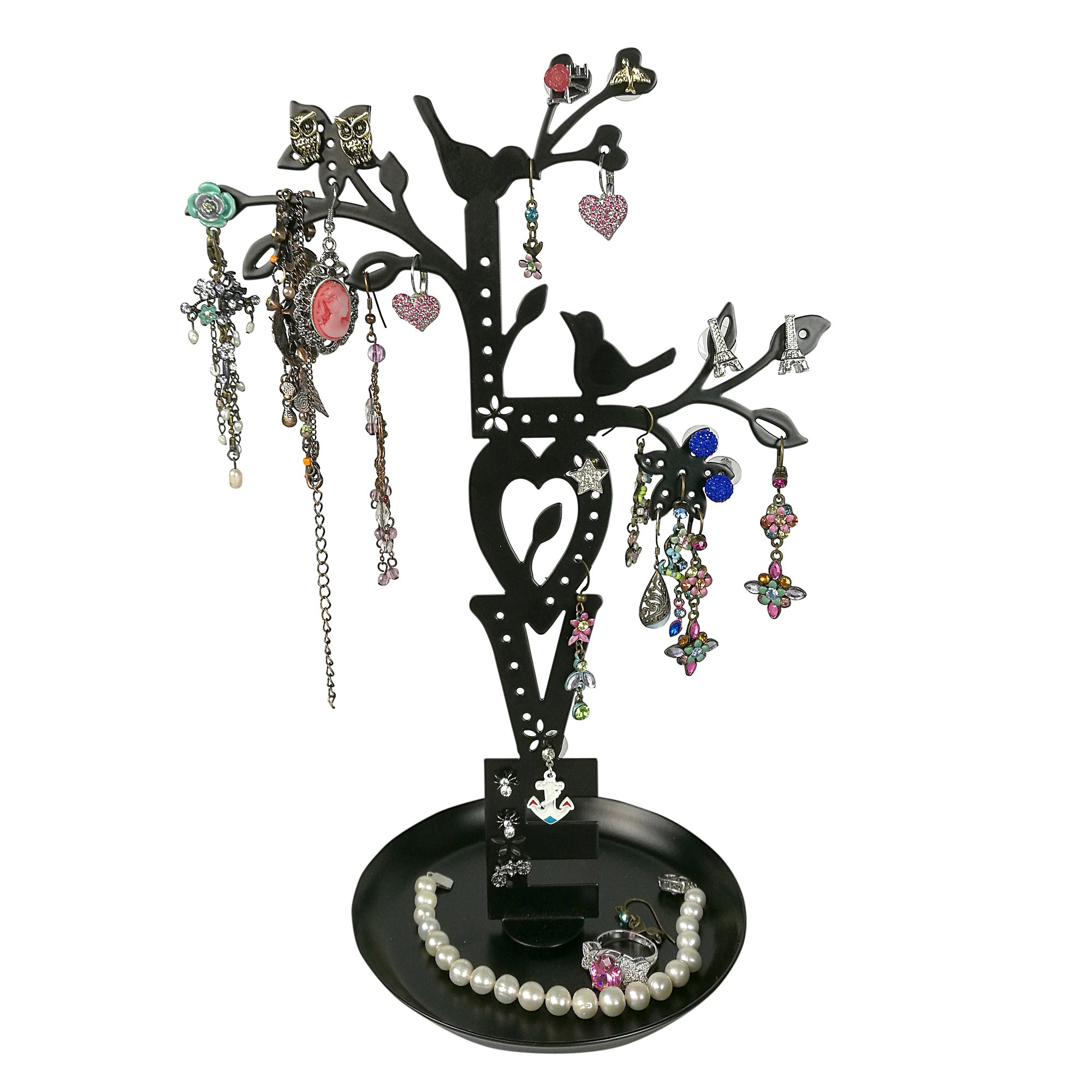 LOVE Jewelry Tree Stand Black with Two Lovebirds Tweeting, Removable Magnet Bottom, Tray Base, Metal by JewelryNanny (Image #2)