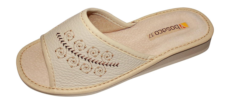 Zapatillas de lujo en Cuero real punta abierta por Mujer 9AC3SDW