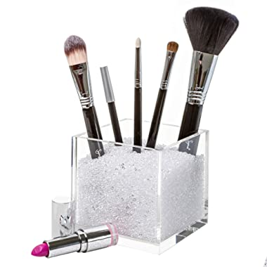 Pretty Display Acrylic Cube Makeup Brush Holder and Countertop Cosmetic Organizer with Clear Crystals. #1 Best Containers with Rhinestones to Store Brushes, Eyeliners, Pencils, Lipstick & More.