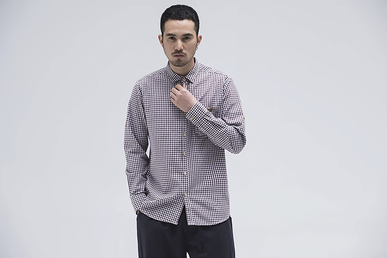 BaronHong Mens Slim Fit Brief Plaid Long Sleeve Linen Shirts with Chest Pocket