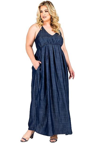 Standards & Practices Plus Size Women\'s Tencel Denim Halter Neck Maxi Slip  Dress