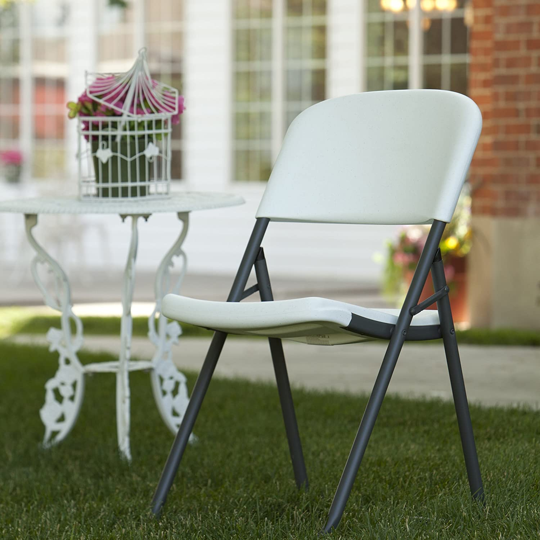 Amazon Lifetime Loop Leg Folding Chair White Granite