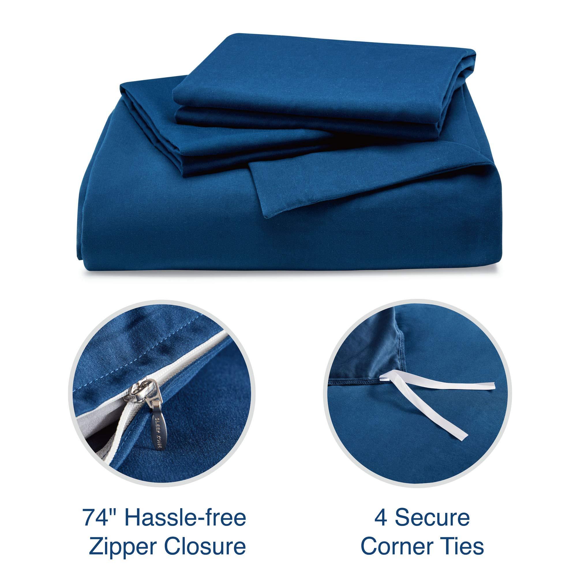 SLEEP ZONE Bedding Duvet Cover Cooling 120gsm Soft Zipper Closure 3 PC, Navy Blue,Full/Queen