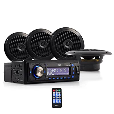 Marine Headunit Receiver Speaker Kit - In-Dash LCD Digital Stereo w/ AM FM Radio System 6.5'' Waterproof Cone Speakers (4) MP3/USB/SD Readers Aux Input Single DIN & Remote Control - Pyle PLMRKT14BK: Car Electronics