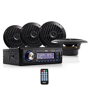 Marine Headunit Receiver Speaker Kit - In-Dash LCD Digital Stereo w/ AM FM Radio System 6.5'' Waterproof Cone Speakers (4) MP3/USB/SD Readers Aux Input Single DIN & Remote Control - Pyle PLMRKT14BK