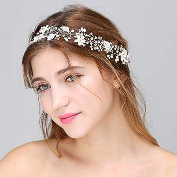 Wedding Bridal Headband Crystal Floral Hairpiece Leaf Vine with Lace Ribbon Belt