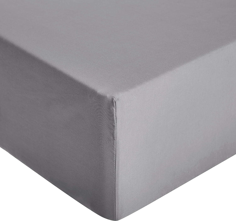 AmazonBasics - Sábana ajustable de microfibra premium (140 x 200 cm), gris oscuro