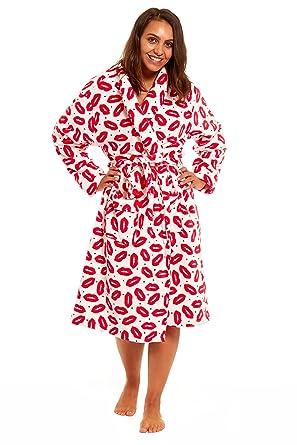 Womens Hooded Fleece Dressing Gown Ladies Novelty Design Winter Bath ...