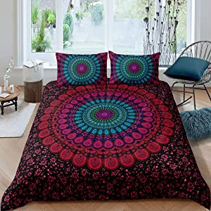 Mandala Bedding Boho Chic Hippie Duvet Cover Full, Bohemian Decor Comforter Cover Luxury Soft Microfiber Red Purple and Teal Mandala Floral Pattern Bedspreads Quilt Cover with Zipper,2 Pillow Shams