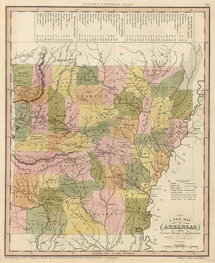 Arkansas World Map.Amazon Com World Atlas 1845 New Map Of Arkansas Historic