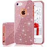iPhone 5s/5 Case, MILPROX for Girls SHINY GLITTER CASE [Bling Crystal Clear][Extremely Sparkling], Slim Premium 3 Layer Hybrid, Anti-Slick/ Protective/ Soft Case, iPhone SE Case- Pink