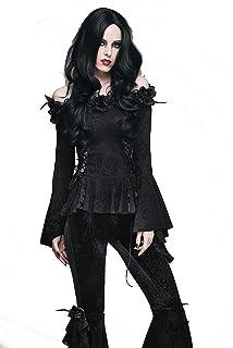 Dark In Love Womens Gothic Bat Wing Dress Long Black Faux Leather Halloween