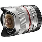 Walimex Pro 8mm 1:2,8 Fish-Eye II CSC-Objektiv (Bildwinkel 180 Grad, MC Linsen, große Schärfentiefe, feste Gegenlichtblende) für Sony E-Mount Objektivbajonett silber
