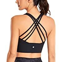 CRZ YOGA Women's Longline Strappy Sports Bras for Women Wirefree Padded Yoga Bras Tops